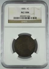 1805 Draped Bust Large Cent NGC AG 3 Problem Free No Reserve Auction 99C Start