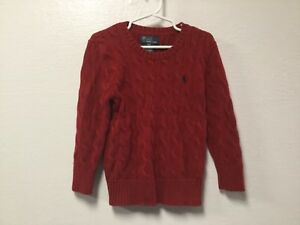 Polo Ralph Lauren Boys Pullover Sweater Size 4/4T Red Cable Knit Long Sleeve 55