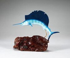 SAILFISH Figurine New direct from JOHN PERRY airbrushed 10in on Burl Wood Statue