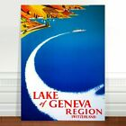 "Stunning Vintage Travel Poster Art CANVAS PRINT 16x12"" Lake Geneva Switzerland"