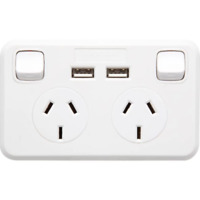 Jackson Double Power Point GPO with 2 USB Charging Sockets 2.1A Charge