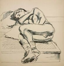 WALTER STUEMPFIG 20th c. American PAFA Artist DRAWING Nude Young Man Sleeping