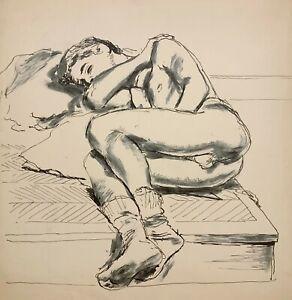 WALTER STUEMPFIG 20th c. American PAFA Artist DRAWING Nude Young Man Sleeping
