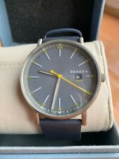 Skagen Men's Signatur SKW6451 Silver Leather Eco-Drive Fashion Watch NWT