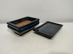 Bonsai basic blue ceramic training pot- Tray14cm x 9.5cm USED