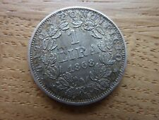 More details for 1868 italy papal states silver 1 lira coin (ref8c)