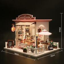 Led Light Diy Handcraft Miniature Dollhouse 3D Dessert Shop Kids Toy Girls Gift