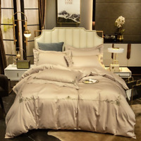 60S Luxury Embroidered Egyptian Cotton Bedding Set Silky Cover Cover Bed Sheet