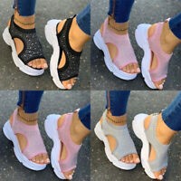 Womens Crystal Open Toe Sandals Ladies Summer Casual Platform Slip On Shoes Size