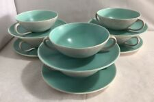 Vintage Set of 6 Poole Pottery Twintone Soup Cups & Saucers Ice Green Seagull