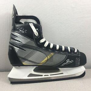 Flite Chaos C-75 Mens Ice Hockey Skates Size 15 Black Silver Yellow EUC