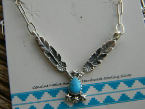 """Sterling silver Navajo made and signed l8"""" long necklace turquoise pendant"""