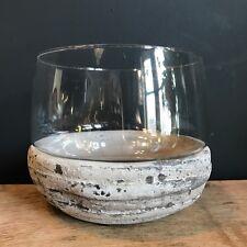 Round Stone & Glass Candle / Tea Light Holder - Shabby Chic Hurricane Vase