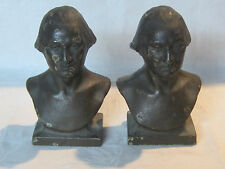 Vintage cast iron w/ bronze wash finishPresident George Washington bust bookends