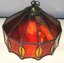 EXTREMELY RARE BEAUTIFUL VINTAGE AMBERINA SLAG GLASS HANGING CEILING LIGHT