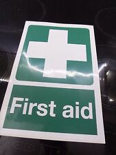 FIRST AID SIGN - SELF ADHESIVE  VINYL STICKER - 30 X 20 CMS  NEW FREE P&P