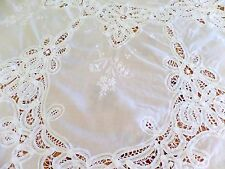 """66"""" Round Tablecloth cover throw White Bobbin Lace & embroidery cotton"""