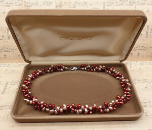 Vintage 925 Sterling Silver Red & Pink Freshwater Pearl Collar Necklace with Box