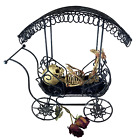 Vintage Fetus Skeleton in Metal Carriage Gothic Medical Black Cart Baby Specimen