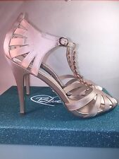Blue by Betsey Johnson Song champagne satin sandals women shoes SZ 9 m NWB