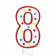 Extra Large  Amscan Birthday Party Candle #8 8 Chandelle 5 inches Wax Number