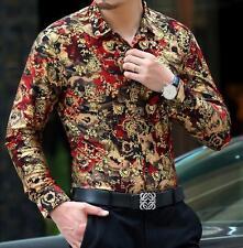 Mens Long Sleeve Slim Dress Floral Print Suit Leopard Casual Shirts Top Blouse