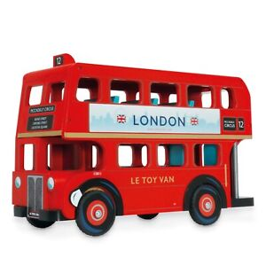 New Le Toy Van Classic Red London Bus Wooden Wood Toy Vehicle