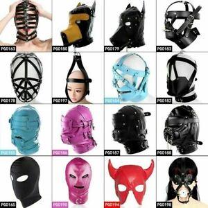 PUNK Adult unisex PU Leather Gimp Head Harness Headgear Hooded Mask club Cosplay