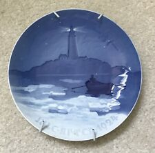 B&G Bing & Grondahl 1924 Christmas Plate Denmark Lighthouse Boat Water Blue
