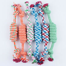Fun Tough Cat Puppy Dog Pet Toy Cotton Braided Bone Rope Chew Knot Random Color