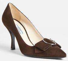 PRADA 1I520E Camoscio POINTED TOE Brown HEELS Shoes PUMPS Round BUCKLE 39 1/2