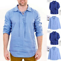 Men's Baggy T Shirt 100%Cotton Tee Shirts Long Sleeve Lace up Yoga Tops Blouse