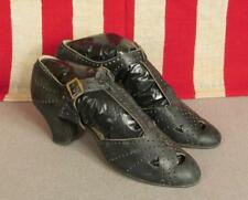 Vintage 1930s Black Leather Buckle Strap Heels Shoes Sz.5 Nice Detail 9 1/2""