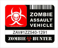 Zombie Assault Vehicle License Sticker Decal Vinyl Car Door Bumper Window Decor
