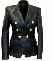 Womens Kim Kardashian Black Double Breasted Slim Fit FAUX Leather Jacket Blazer