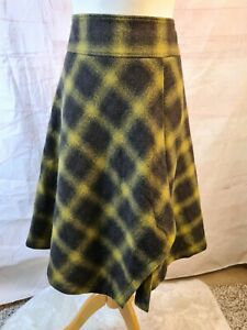 Hobbs Olive Green Check Print Pure Wool Asymmetrical A-Line Lined Skirt Size 12