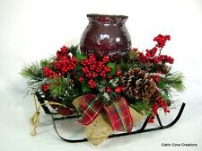 Winter Berry Sleigh Centerpiece Christmas Floral Arrangement Mosaic Candleholder