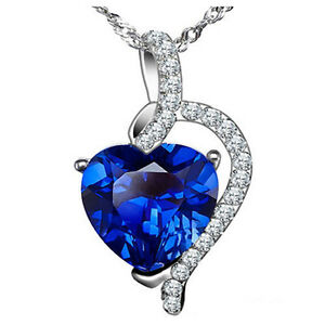4.10 Ct 925 Sterling Silver Simulated Blue Sapphire Heart Pendant Necklace Women
