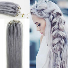 Micro Loop Ring Beads I Tip Indian Remy Human Hair Extensions Gray 100S 22Inch
