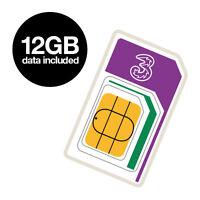 Three 12GB Preloaded Mobile Broadband SIM Card. Nano/Micro/Standard Multi SIM