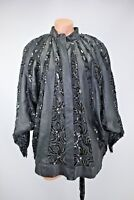 VTG 80s Judith Ann Creations Batwing Black Sequin Leather Bomber Jacket Sz M