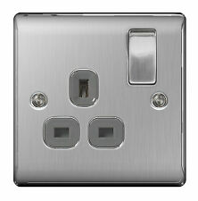 1-Gang Brushed Plug Socket Home Electrical Fittings