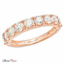 1.60 ct Simulated pave set Wedding Engagement Band Ring Real 14kt Rose Gold