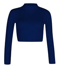 H11-12a Womens Polo Turtle Neck Long Sleeve Stretchy Jersey Cropped Top T-shirt Navy Ml 12-14