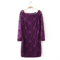 Womens Ladies Lace Bodycon Off Shoulder Long Sleeve Casual Evening Party Dress