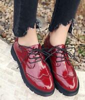 Women's Retro Round Toe Patent Leather Brogue Lace Up Flats Oxfords Shoes Solid