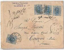 54874 - REGNO: UMBERTO I - STORIA POSTALE: BUSTA tariffa 1 Lira a FRANCIA 1896