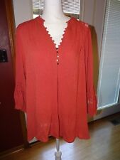 6f56d4bdc50 Democracy Plus-size Lace   Flounce Top SIZE 2X NWT Rust Red Dillards
