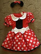 Size 6T Girl's Minnie Mouse Halloween Costume Dress And Headband Ears Outfit