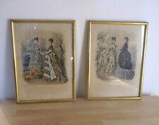"""Gravures polychromes, """"La mode illustrée"""", encadrées, période XIXeme siècle."""